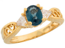 10k or 14k Yellow Gold Simulated Blue Zircon and White CZ Fancy Ladies Ring
