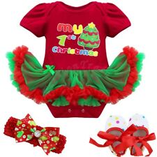 Baby Girl My First Christmas Hat Romper Bodysuit Tutu Dress Up Outfit Clothes