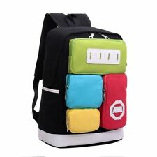 Women Girl Multi-pocket Solid Color Canvas Material Travel Backpack Dk148