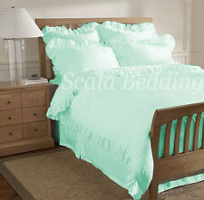 3pc Solid Edge Ruffle Duvet cover sets 800-TC Egyptian Cotton All Sizes & Colors