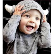 Baby Boys Girls Kids Winter Warm Hat Scarf and Cap Set Horn Beanie Xmas Gift