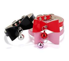 Cute PU Leather Dog Collars Pet Cat Puppy Necklace with Bowknot 3 Color XXS XS