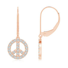Natural Diamond Peace Sign Leverback Earrings 14k Rose Gold