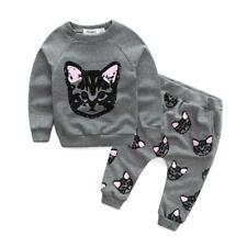 Kids baby girls clothes set winter Cat printed Girls clothing sets cat clothes l