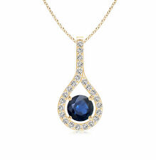 """Blue Sapphire Diamond Drop Pendant Necklace with 18"""" Chain 14k Yellow Gold"""