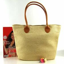 Straw Beach Bag Large Capacity Handmade Shoulder Bag Crochet Rattan Handbag PL
