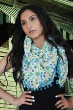 Printed Cotton Scarf NEW Womens Soft Summer Fashion wrap Long Square Pompom