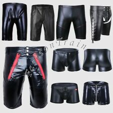 Sexy Mens Lingerie Wetlook Faux Leather Boxer Shorts Pants Underwear Underpants
