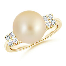 Art Deco-Inspired Golden South Sea Cultured Pearl Ring 14k Yellow Gold Size 3-13