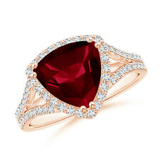 Trillion Cut Garnet Diamond Cocktail Ring 14K Rose Gold Size 3-13