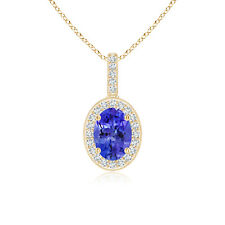 "Vintage Style Tanzanite Pendant Necklace with Diamond 14k Yellow Gold 18"" Chain"