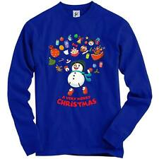 Merry Christmas Snowman Jumping Joy Reindeer Sleigh Adult Christmas Jumper