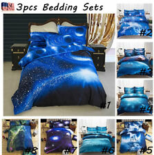 Polyester Three-Piece Set 3D Print Queen Size Bedding Set Simple Brushed Bed Set