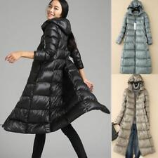 Womens Slim Parka Duck Down Jacket Hooded Warm Long Coat Puffer Windbreaker Size