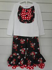 Handmade Disney Minnie Mouse Ruffle Pants Outfit Toddler Girls Sizes NEW