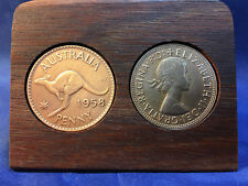60th Birthday Gift Present Jarrah Plaque w/1958 origina pennies others available