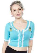 SOURPUSS Pineapple Cropped 50s Rockabilly PINA COLADA BELLA CARDIGAN Blue