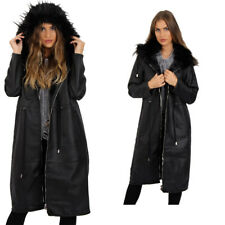 Womens Longline Faux Leather Fleece Lining Jacket Coat With Fur Hood Winter Coat