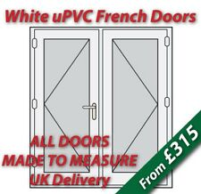 White uPVC French Doors - Made to Measure - White handles, GOLD spacer bars #04