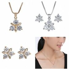 Charm CZ Wedding Bridal Bouquet Pendant Necklace Earrings Jewelry Set Gifts New