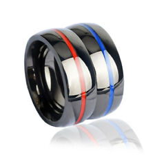 Keisha Lena Mens firefighter Ring Stainless Steel Thin blue red line Top Quality