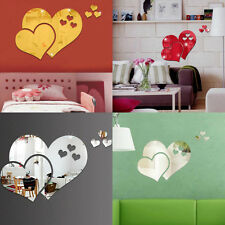 Mirror Love Heart Wall Stickers Decal DIY Ps Home Room Art Mural Decor Removable