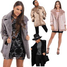 Womens Ladies Shearling Coat Faux Fur Jacket Coat Fur Collar Suede Winter Coat
