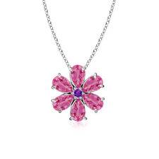 """Cluster Pink Sapphire Amethyst Flower Pendant Necklace 14K White Gold 18"""" Chain"""