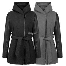 Women Synthetic Leather Sleeve Patchwork Full Zip Hooded Coat With Belt BF9