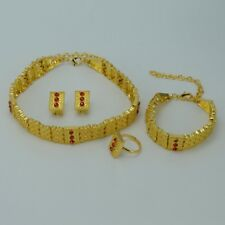 24k Gold Plated Ethiopian Jewelry set Necklace/Earrings/Ring/Bracelet African We