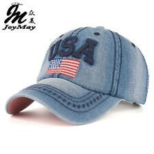 snapback cap jeans cotton baseball USA American flag embroidery hat men women