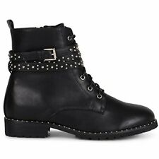 Wanted Women's Spirals Black vegan Leather Lace-up Studded Strap Combat Bootie