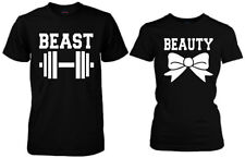 Beauty and Beast Couple Matching T-shirts. Power couple His&Hers workout shirts