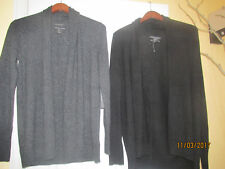 NWT ELLIE TAHARI 100% Cashmere Open Cardigan Pure Luxe Charcoal Gray Black S M L