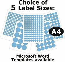 BLUE Round Laser Copier Inkjet Printer Labels 5 A4 Sheets Self-Adhesive Stickers