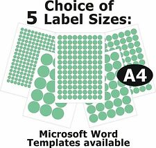 GREEN Round Laser Copier Inkjet Labels 5 A4 Sheets Self-Adhesive Stickers