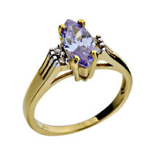 Cubic Zirconia Gold Plated Sterling Silver Jewelry Women Wedding Engagement Ring