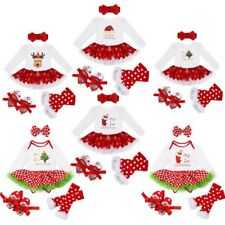 My First Christmas Infant Baby Girl Santa Romper Headband Tutu Dress Outfits Set