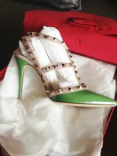 VALENTINO ROCKSTUD ANKLE STRAP GREEN PATENT LEATHER WITH TAGS 38EU/7,5US