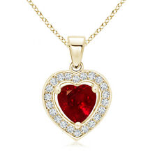 Vintage Style Floating Ruby Heart Pendant with Diamond Halo 14K Yellow Gold