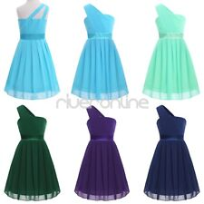 Kid Girl Pleated Chiffon One-shoulder Flower Long Dress Princess Pageant Wedding
