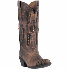 Laredo Womens Bone/Brown Cowboy Boots Leather Cowboy Boots Snip Toe