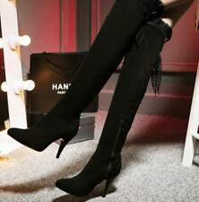Womens Shoes Faux Suede Slim High Heel Zip New Lace Up Over Knee Boots US Sz 48