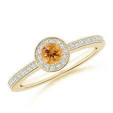 Round Citrine Halo Ring with Diamond Accent 14K Yellow Gold