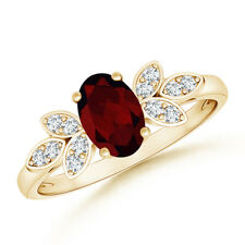 Vintage Style Oval Solitaire Garnet Ring with Diamond Accents 14K Yellow Gold