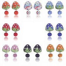 pairs earrings Strawberry Bling Double Side Two Ball Stud Rhinestone crystal