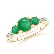 14k Yellow Gold Three Stone Round Emerald Diamond Ring