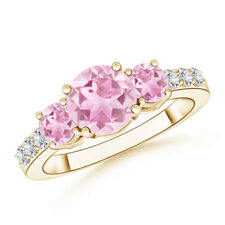 Three Stone Round Pink Tourmaline Ring with Diamond 14K Yellow Gold