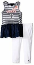 Tommy Hilfiger Girls' Yarn Dyed Stripe Tunic W/ Eyelet Trim and Leggings