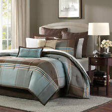 8pc blue brown grey plaid pattern comforter sham bedskirt bedding set